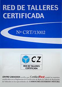 Certificación de Centro Zaragoza para Autos Elizasu SL